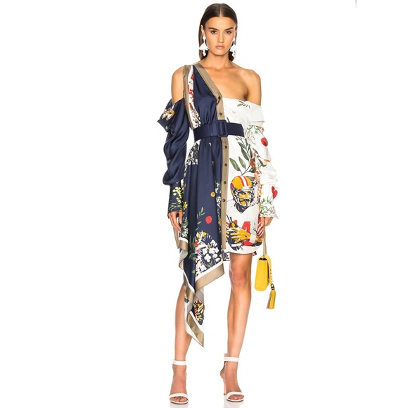 monse Dresses & Skirts - Monse Silk Scarf Dress Football floral print 6